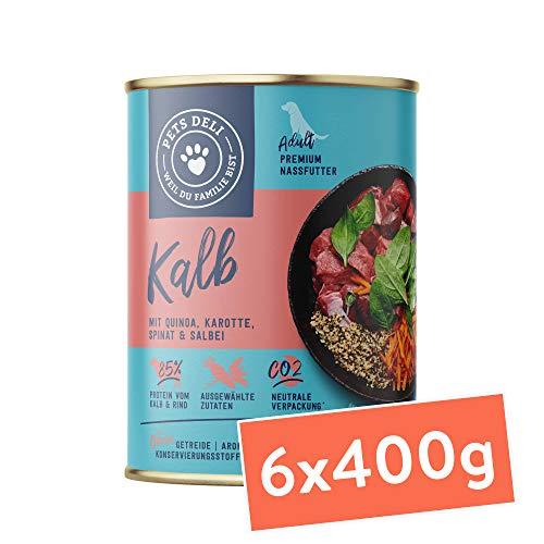 Pets Deli cibo umido per cani 2,4 kg - confezione speciale da 6 pacchi | qualità premium | vitello con quinoa, carote, spinaci e salvia - cibo per cani con un'alta percentuale di carne