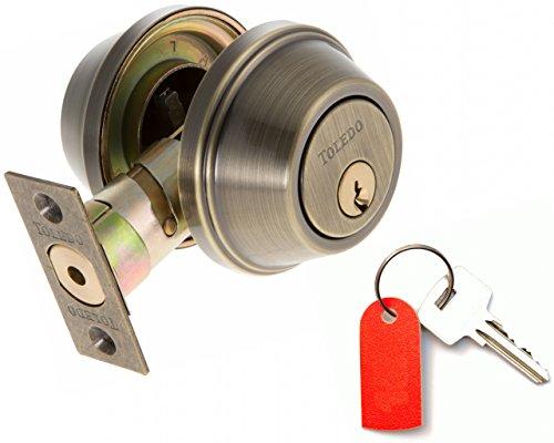 Deadbolt Lock Set Double Cylinder : Keyed Alike : Anti Bump & Pick Security Prevents Break Ins : Antique Brass US5 : by TOLEDO