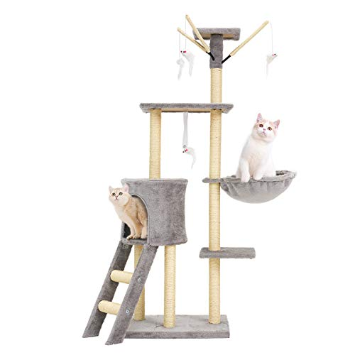 """Mellcom Cat Tree Condo with Scratching Posts Perches, Cat Basket Lounger and Ladder, 56"""" Multi-Level Deluxe Cat Tower Kitten Play House Light Grey"""