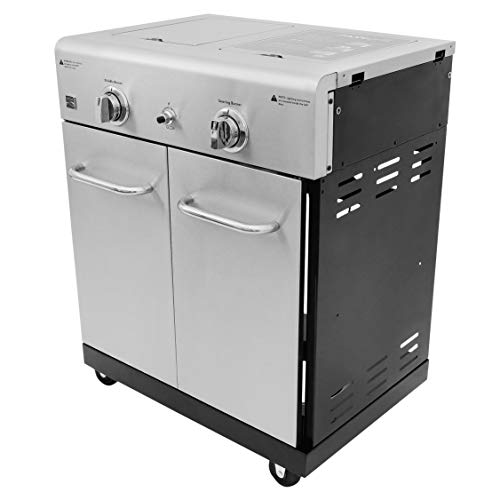 Kenmore PG-OK005-AM Cooking Station with Right Sear, Left Side Burner, Griddle, Black and Stainless Steel 15% Gas Grills Kenmore on Propane Save