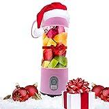 Fruit Twister Licuadora portátil para batidos y batidos, tamaño de viaje personal, 380 ml, funciona con pilas y recargable por USB, para casa, oficina, gimnasio, playa, color rosa…