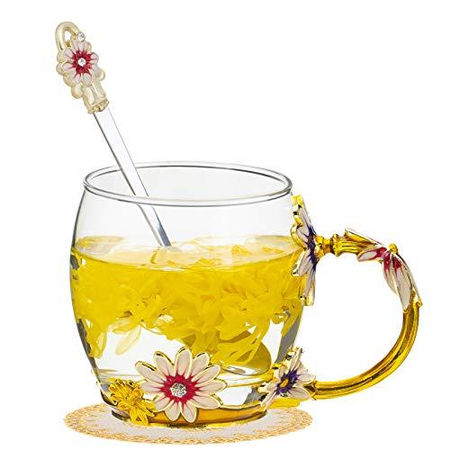 TKLake Lead-Free Enamel Flower Glass Mug/Coffee Mug/Tea Cup with Steel Spoon,Great Gifts for Women Wife Mum Teacher Girlfriend Friends Birthday Mothers Valentines Wedding Day (Yellow)
