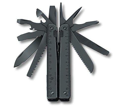 Victorinox Swiss Tool Spirit BS Multifunktionswerkzeug, 29 Funktionen, Schwarzer Oxid Stahl, Leder-Gürteletui, schwarz