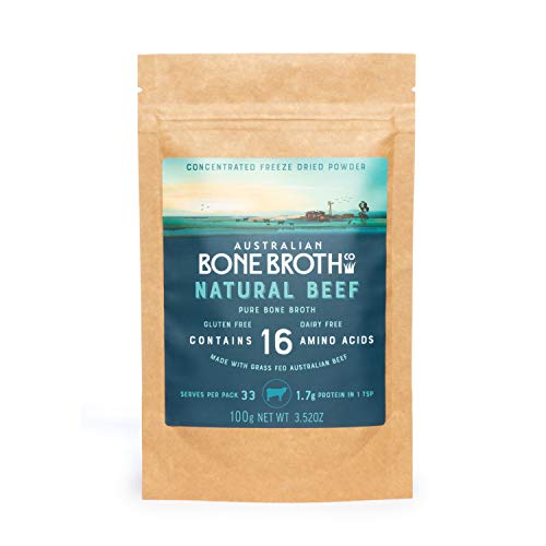 Australian Bone Broth Concentrated Freeze-Dried Powder - Natural Beef Flavor - Broth-on-The-Go Powder- Immune Gut Joint Health Made in Australia 100 Grams.