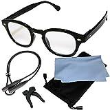 (ジャパナイス)JapaNice 両手が使える メガネ型 拡大鏡 2.2倍 ルーペ グラス 5点セット BO025-14 (2.2倍 ブラックフレーム ブルーライトカットレンズ)