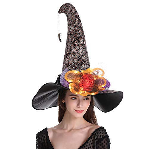 QinYing Orange Glitter Halloween Costume Witch Hat for Women Curved Top with Lamp