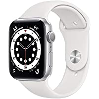 Apple Watch Series 6 44mm GPS Smartwatch (Silver Aluminum Case with White Sport Band)) + AVODA TPU Bumper
