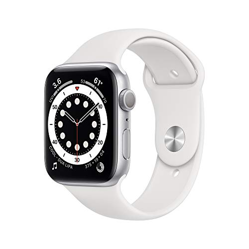 New Apple Watch Series 6 (GPS, 44mm) - Silver Aluminum Case with White Sport Band $359.99