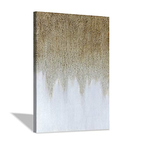 """Abstract Painting Canvas Wall Art: Rustic Hand-Painted Textured Gold White Embellishment Modern Picture Artwork for Home Decor (24"""" x 36"""" x 1 Panel)"""