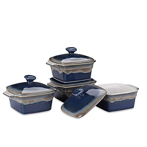 LOVECASA Stoneware Ramekins with Cover for Baking, 10 Ounce Souffle Dishes, Covered Square Casserole, Oven Safe Mini Casserole Dish with Lid, Set of 4, Navy and Grey