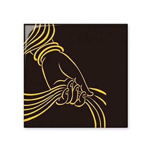 Boeddhisme Religie Boeddhistische Zwarte Gele Hand Sjaal Eenvoudige Lijn Tekenen Illustratie Patroon Keramische Bisque Tegels voor het verfraaien Badkamer Decor Keuken Keramische Tegels Wandtegels M