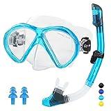 Glymnis Gafas de Buceo Gafas Snorkel Seco Completo Kit de Snorkel Máscara de Buceo y Snorkel Seco Set Máscara Set de Snorkel Profesional para Adultos y Jóvenes Hombre y Mujer Azul