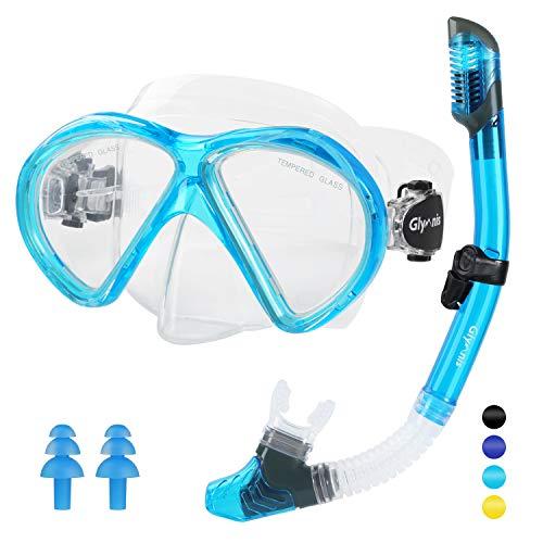 Glymnis Schnorchelset Taucherbrille mit Trockenschnorchel Schnorcheln Set Anti-Fog Anti-Leck Tauchset Professionelle Tauchmaske für Erwachsene (Hellblau)