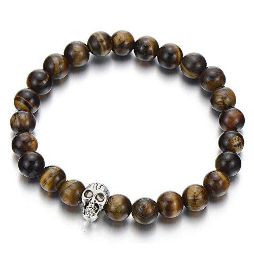 COOLSTEELANDBEYOND 8MM Piedra Ojo de Tigre Sintético, Pulsera de Perlas con Cráneo, Brazalete Hombre Muchachos Niños, Tibetan Beads Prayer Mala