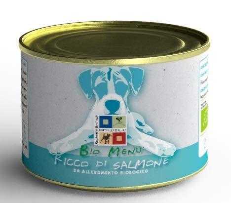Aniwell - Cibo Umido per Cani Bio - Bio Menu Ricco di Salmone, 12 Lattine da 200 g