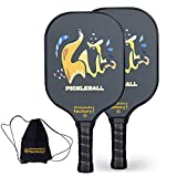 Pickleball Set, Pickleball Paddles, Pickleball Paddle Set of Two, Animal Pickle Ball Rackets with Pickleball Paddle Bag as Pickleball Gifts for Women Men Beach Ball Game Outdoor