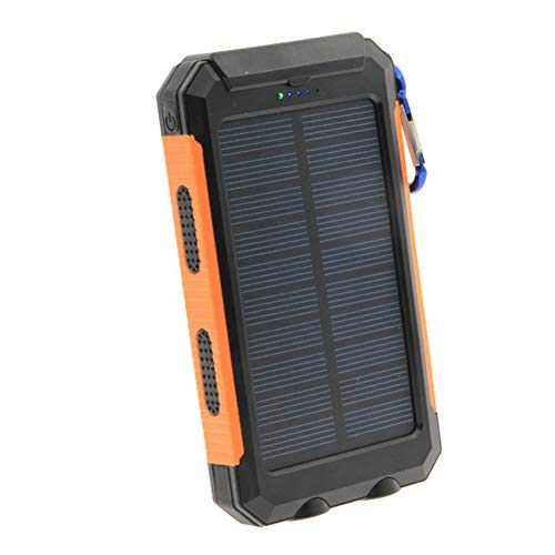 ZHENAI Power Bank Portable, téléphone Charge Solaire 8000mAh Grande capacité Résistant à l'eau 3 Ports de Sortie Pack Batterie Batterie Lampe de Poche LED pour Plein air,Smartphone, Tablette,Orange