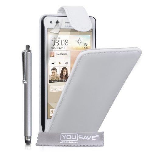 Yousave Accessories Kompatibel Für Huawei Ascend G6 Tasche (3G Modell Nur) Weiß PU Leder Klapp Hülle Mit Handgriffel Stift