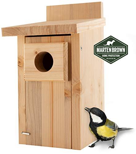Martenbrown® Nistkasten für Meise (Kohlmeise) aus Holz, wetterfest – Brutkasten für Vögel zum Aufhängen – Vogelhaus, Futterhaus