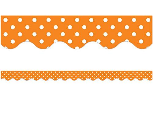 Teacher Created Resources Orange Polka Dots Scalloped Border Trim
