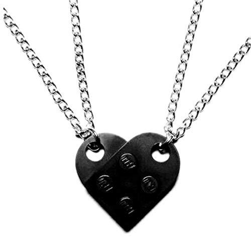 2Pcs Cute Love Heart Brick Pendant Necklace for Couples Friendship Women Men Girl Boy Lego Elements Birthday Jewelry Gift