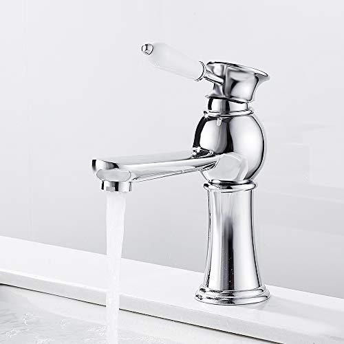 Grifo lavabo baño cerámica monomando vintage grifo agua caliente fría para lavabo baño decoración de la casa