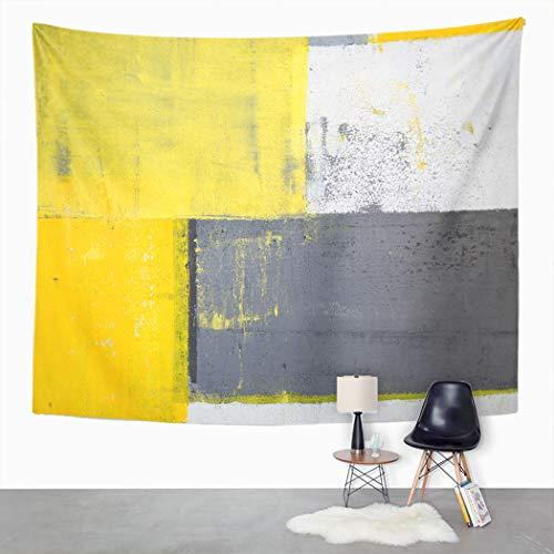 Y·JIANG Tapiz gris y amarillo, arte abstracto moderno amarillo gris líneas hogar dormitorio decorativo grandes tapices para colgar en la sala de estar, dormitorio, 60 x 50 pulgadas