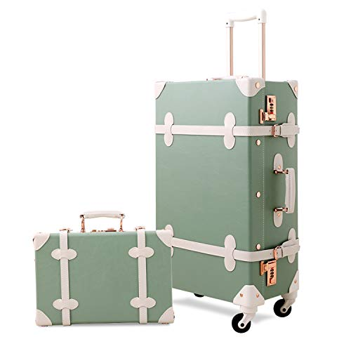 Mosslanda Vintage Suitcase Set 20 inch Carry on Spinner Luggage with 12 inch Handbag for Women