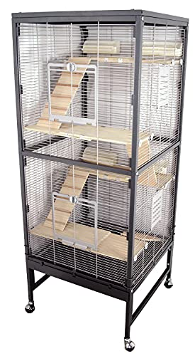 PETGARD Kleintierkäfig, großes XXL Nagervoliere auch für Ratten und Chinchilla, Gehege auf Rollen mit 4 Holzetage und weiterem Zubehör, 60x60x152,5 cm, Rio