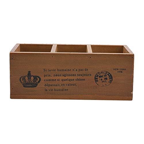 3-Grids Macetero Macetero De Madera Adorable Suculenta Lecho De Plantas Pequeño Rectangular Planta Caja Decorativo Jardín Planta Caja(Retro)
