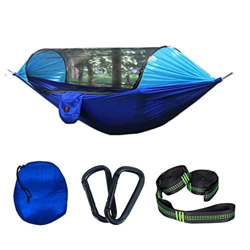 Reiziger Kleuraanpassing Anti-muggenhangmat, Met Klamboe Hangende Lucht Off-grond Campinghangmat Tent Vissen Kamperen Buiten Enkele Dubbele Schommel (290x145cm),Blue