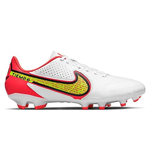 Nike Herren Legend 9 Academy Fg/Mg Fußballschuh, White/Volt-Bright Crimson, 44.5 EU