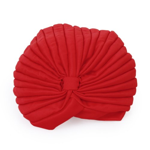 Anbau Women Girls Ladies Polyester Pleated Pre Tied Turban Head Wrap Cap Twist Hat Red