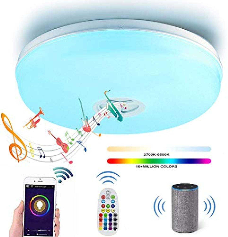 24W LED Deckenleuchte Dimmbar mit Fernbedienung Blautooth Lautsprecher Moderne Musik Kompatibel Alexa und Google Home, Sprachsteuerung, App und Fernbedienung Wifi Smart Farbwechsel RGB Deckenlampe