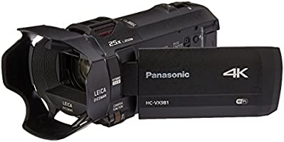 Panasonic 4K Ultra HD Video Camera Camcorder HC-VX981K, 20X Optical Zoom, 1/2.3-Inch BSI Sensor, HDR Capture, Wi-Fi...