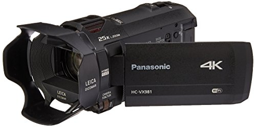 Panasonic 4K Ultra HD Video Camera Camcorder HC-VX981K, 20X Optical Zoom, 1/2.3-Inch BSI Sensor, HDR Capture, Wi-Fi Smartphone Multi Scene Video Capture (Black)