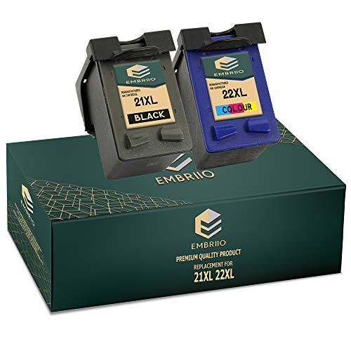 EMBRIIO 21XL 22XL Cartuchos de Tinta 21 22 Reemplazo para HP Deskjet F2120 F2180 F2280 F335 F375 F380 F390 F4180 F4190 3940 D1460 D1530 D2360 D2460 Officejet 4315 4355 PSC 1410 1415