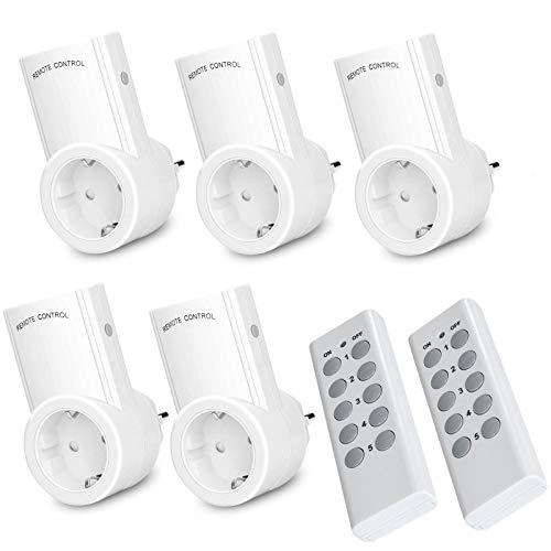 Funksteckdosen Set Aus 5 Funksteckdosen Mit 2 Fernbedienungen Funkschalter Set Reichweite 30m für Weihnachtsschmuck, Licht, Haushaltsgeräte, Programmierbare Selbstlern-Funktion