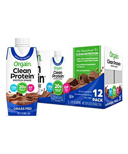 Orgain Grass Fed Clean Protein Shake, Creamy Chocolate Fudge - Meal Replacement, Ready to Drink, Gluten Free, Soy Free, Kosher, Non-GMO Packaging May Vary,11 Fl Oz (Pack of 12)