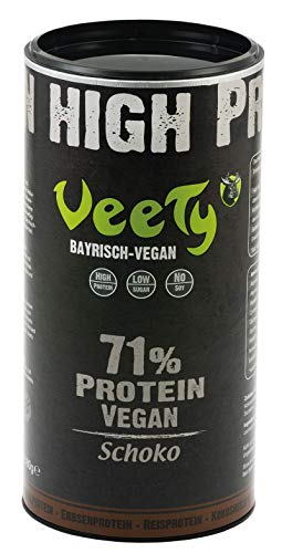 Veety Protein Shake, The 4in1 Mix - Chocolate   Rice Protein, Pea Protein, Almond Protein, Coconut Protein   Soy-Free   1x 580g