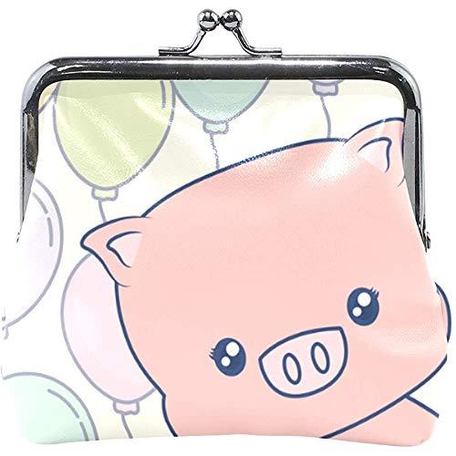 Portefeuille leuke roze varken met kleurrijke ballon munt-portemonnee-buizen lederen wisselhouder kaarten-koppelingshandtas