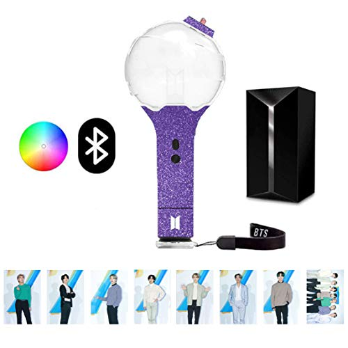 FYee BTS Army Bomb Lightstick Ver 3 Official Quality Contains New Photos and Multi-Color Lamp Body Stickers,Bluetooth Connection APP to Adjust The Color of BTS Light Stick (Purple)