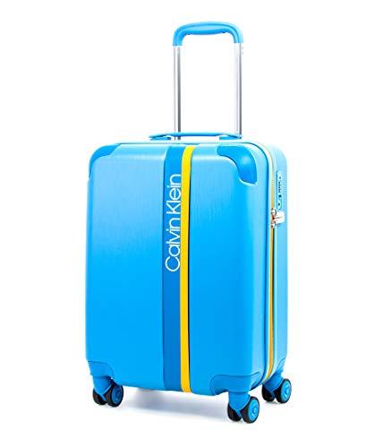Calvin Klein Avenue Lanes Hardside Spinner Luggage with TSA Lock, Sky Blue, 20 Inch