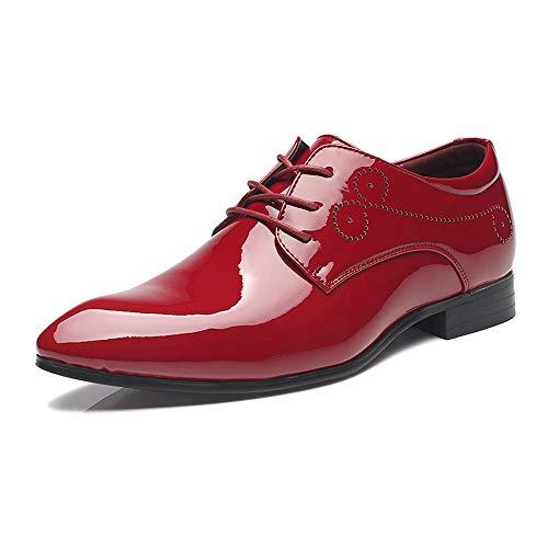 Zhulongjin Klassische Herren Formale Business Oxford Schuhe for Herren einfarbig geschnitzt Synthese Lackleder Schnürkleid Schuhe Blockabsatz Mode Verschleißfest (Farbe : Rot, Größe : 46 EU)