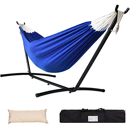 Lazy Daze Hammocks Double Hammock with 9FT Space Saving Steel Stand Includes Portable Carrying Case, 450 Pounds Capacity, Dark Blue