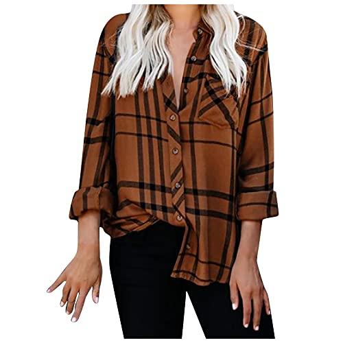 Blusa de manga larga para mujer con solapa, a cuadros estampados, botones, marrón, XL