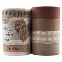EnYan 和紙テープセット 5ロール 和紙製 かわいい 装飾 書き込み可能 色付きマスキングテープ ビンテージ 田舎 天然花テープ DIY装飾 工芸 芸術 スクラップブッキング 弾丸ジャーナルプランナー