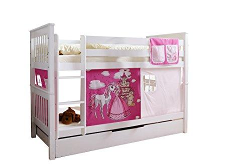 Etagenbett Doppelbett Stockbett Sammy teilbar Kiefer massiv Weiss mit Farbwahl, Vorhangstoff:Horse Pink