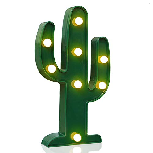 Designer Cactus Marquee Sign Lights, Novelty Place Warm White LED Lamp Tropical Green - Living Room, Bedroom Table & Wall Christmas Decoration for Kids & Adults - Battery Powered 10 Inches High