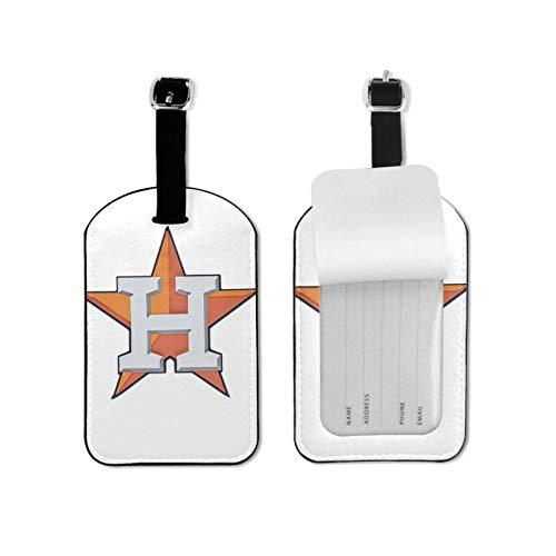 Ho-uston As-tros Etiquetas de equipaje de microfibra de cuero personalizado etiqueta de maleta Set etiquetas de identificación de equipaje Accesorios de viaje Microfibra PU Cuero 2.7 x 4.3 pulgadas